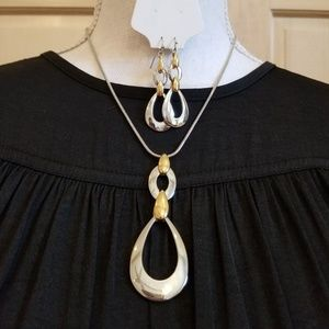 LIA SOPHIA MIXED METAL NECKLACE AND EARRING SET